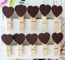 Chocolate color wooden clips 30pieces New Fashion Vintage Life Gift MINI Wooden clips wood pegs/bookmark peg/Wedding Gifts
