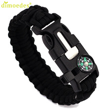 Bracelet Diomedes Gussy Life Hot Wholesale 5 in 1 Outdoor rope Survival Gear Escape Bracelet Flint Whistle Compass Jan17