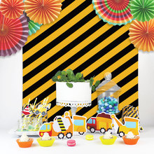 Table Centerpiece Construction-Candy-Box Birthday-Party Straw-Decor Boy Trucks