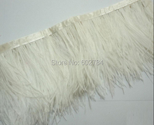 "Free Shipping 10meters 5-6"" 13-15cm width Beige Cream Ivory Ostrich Feather fringe Ostrich feather Trimming"