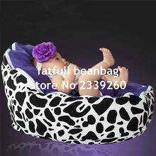 COVER ONLY, NO FILLINGS - purple cow design baby bean bag chair, sleeping pods for infants(China)