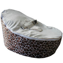 COVER ONLY, NO FILLINGS - Inexpensive Zipper Baby Bean Bag Soft Sleeping Bed Portable Seat Without beans, giraffe stone
