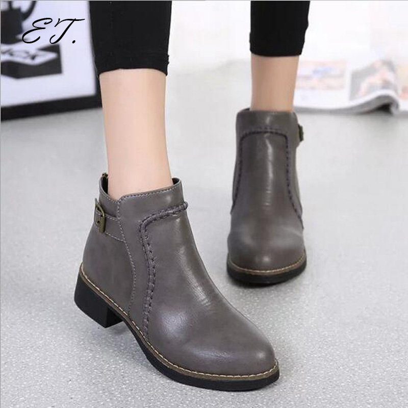 Vintage women boots 2016 new fashion winter boots leather shoes Back zipper thick Martin<br><br>Aliexpress