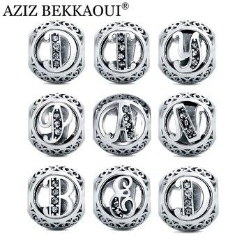 АЗИЗ BEKKAOUI Diy Кристалл Буквы Алфавита Шарики Подходят Пандора Браслет Оригинальные Европейские Big Hole Бусы для Изготовления Ювелирных Изделий