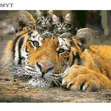2017 MYT new painting by numbers rest tiger picture Frameless hand painted diy digital oil painting on the wall
