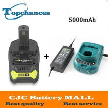 Charger+ 18V 5000mAh Li-Ion For Ryobi Hot P108 RB18L40 High Capacity Rechargeable Battery Pack Power Tool Battery Ryobi ONE+