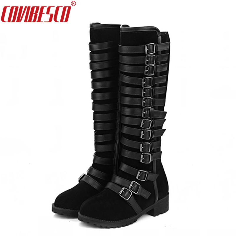 COVIBESCO Women Knee High Boots Sexy Autumn Winter PUNK Buckles Low Heels Motorcycle Boots Side Zipper Long Shoes Big Size <br>