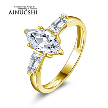 AINUOSHI 10k Solid Yellow Gold Ring SONA Simulated Diamond 3 Stones Band 1 ct Marquise Cut Female Joaillerie Women Wedding Ring