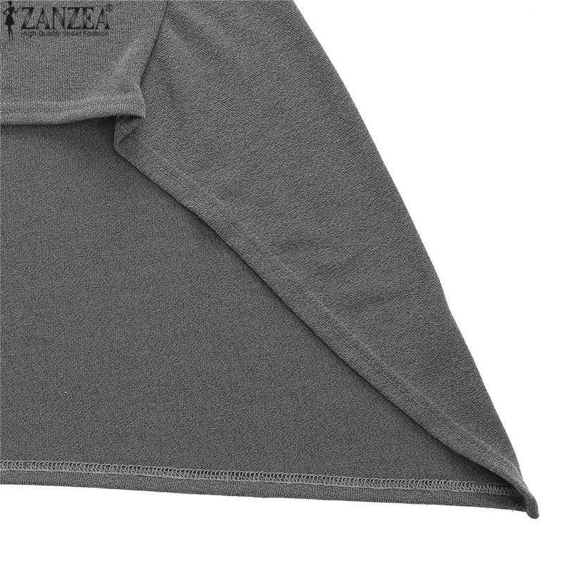 ZANZEA Winter Sweater Dress Vestidos 18 Women Ladies Knitted Casual Long Sleeve Asymmetric Hem Mid-calf Dresses Plus Size 3XL 20