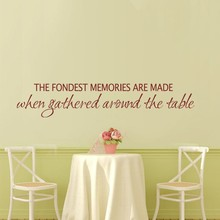 "Family Vinyl Wall Decal - Fondest Memories Are Made When Gathered Around The Table Kitchen Wall Quote 46"" x9""(China)"