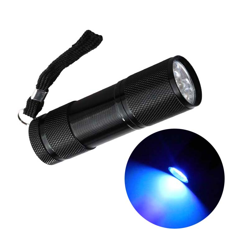 9LED Mini Aluminum UV Light Ultra Violet Flashlight Blacklight Invisible Ink Marker Detection Torch Light 3AAA ZK93(China (Mainland))