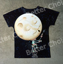 Track Ship+New Vintage Retro Fresh Hot T-shirt Top Tee Uncle Moon on Wheelbarrow Blow Star Bubbles 0699