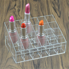 New Transparent Acrylic 24 Lipstick Display Stand Case Jewelry Storage Box Makeup Organizer Tool Cosmetic Home Storage Holder BS