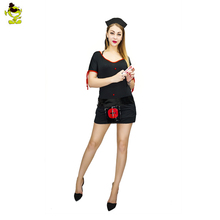 Buy 2018 New Adult Customized Doctor Costume Fashion Sexy Nurse Women Halloween Dress Cosplay Black Latex Cosplay Costumes