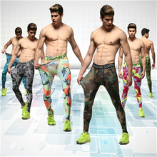 Men sports pants tights male fitness pants high elastic compression PANTS LEGGINGS  pants 12 Pattern S-3XL