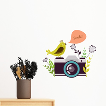 Illustration Bird Greeting on Camera Removable Wall Sticker Art Decals Mural DIY Wallpaper for Room Decal