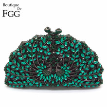 Gift Box New Design Women Emerald Green Crystal Diamond Phoenix Evening Clutches Purse Handbags Hard Wedding Bridal Clutch Bag