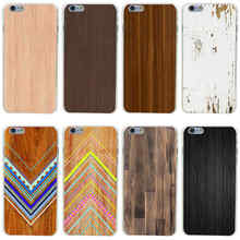 384GH Wooden pattern Hard Transparent Painted Cover for iphone 4 4s 5 5s 6 6s plus 7 7 Plus