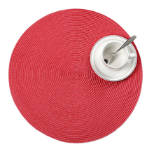 4 Pcs/lot round weave Placemat fashion PP dining table mat disc pads bowl pad coasters waterproof table cloth pad 38cm diameter(China)
