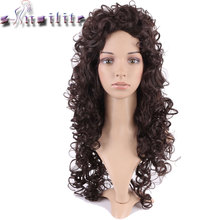 S-noilite Long 26inches None Lace Wigs Synthetic Afro Kinky Curly Glueless Wig For Black Women Dark Brown African Hairstyle(China)