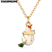 XIAOJINGLING Christmas Necklace Cute Snowman With Broom Fashion Long Sweater Charm Chain Xmas Gifts Trendy Necklace For Women