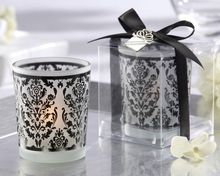 Damask Frosted Glass Tea Light Holder  wedding party Favor decoration