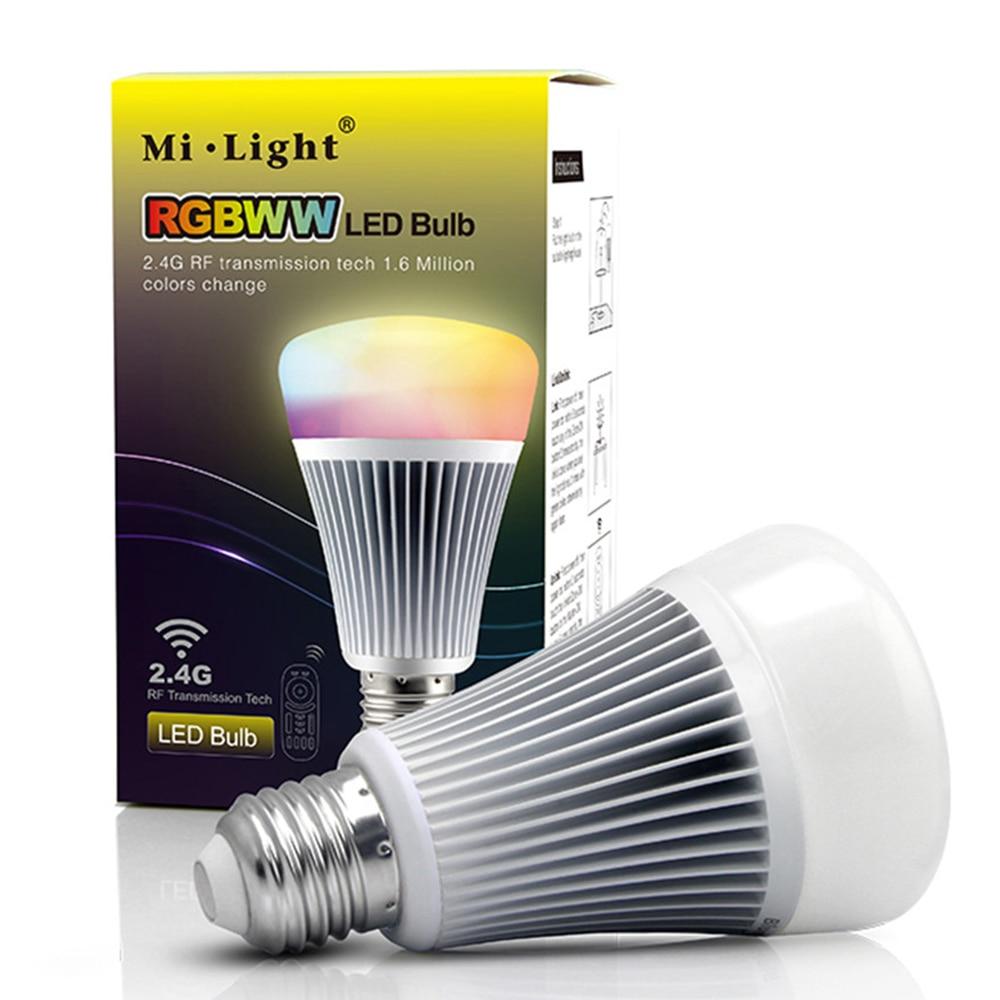 LED Bulb light Lamp with 2.4G RF Remote Controller E27 base RGBW RGBWW 8W Smart Dimmable 16 million color Mi.light 85-265V VR<br>