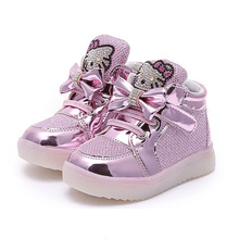 Children Light Shoes 2016 New Boots Kids Shoes Girls Hallo Kitty LED Shoes Lighted Boots Shining Crystal Hallo Kitty Shoes(China)