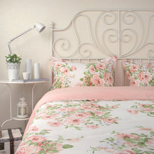 Pink white beautiful floral beding sets,100%cotton queen king romantic zakka style bedclothes bed linen pillowcase duvet cover