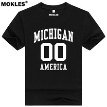 MICHIGAN t shirt custom made name number USA Lansing MI T-Shirt america Detroit Grand Rapids Ann Arbor Dearborn Traverse clothes(China)