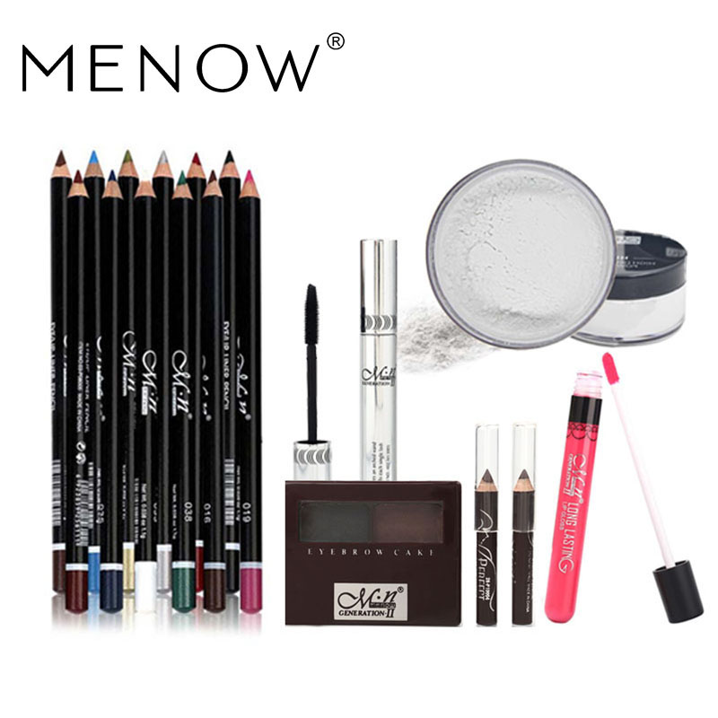 MENOW Brand Make up set 12Color Eyeliner+Eyebrow+Lip gross+Mascara+Loose powder Lasting Waterproof Cosmetic Kit drop ship 5415<br>