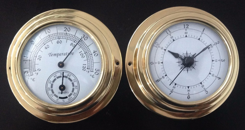 Thermometer Hygrometer Barometer Watches Clock 2 Whole Set Weather Station Copper shell <br>