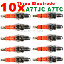 Three-Electrode High Performance A7TC Motorcycle Spark Plug 50cc 70cc 90cc 110cc 125cc ATV Dirtbike 50 125 150cc Moped Scooter(China)