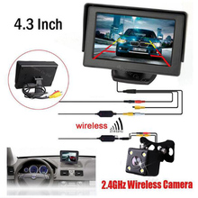 2017 Parking Assistance  2.4G Wireless Kit 4.3  TFT LCD Monitor With Car Rear view camera Reverse Camera System Night Vision