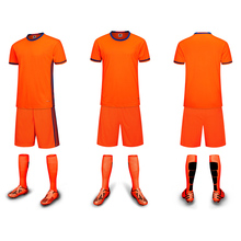 Popular Orange Lines 2017 Men's Soccer Jerseys Sets Blank Can Customized Football Team Clubs Soccer Shirt Uniforms Free Shipping