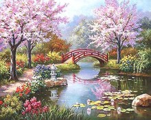 New Fashion Beautiful Flower bridge Painting By numbers Abstract DIY Handpaint Digital Christmas Gift Wall Picture Coloring