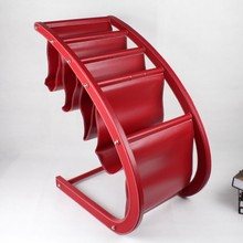 red large wood leather floor magazine newspaper exhibition display rack shelf organizer holder ZZJ001