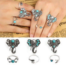 2016 Popular 6PCS/Set Bohemia Vintage Punk Elephant Rings For Women Men Beach Carving Tibetan Silver Plated Joint Ring Sets