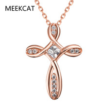 Female CZ Crystal Choker Necklaces&Pendants Rose Gold Infinity Chain Statement Rhinestone Luxury Cross Necklace For Women Gifts