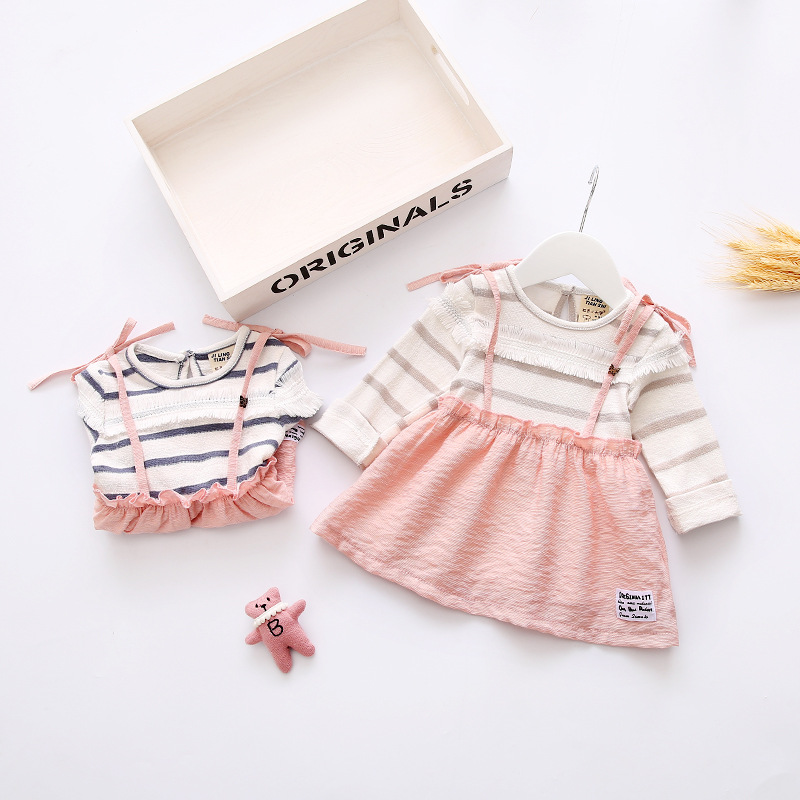 Spring Baby Girls Cotton Striped Long Sleeve O Neck Princess Party Bow Dress Kids Infant Clothes vestido infantil<br><br>Aliexpress