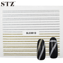STZ  1 Sheets New Gold Silver Striping Decals Foil Tips DIY Craft Design Nail Art Decorations Nail Sticker 3d Beauty BLE991D