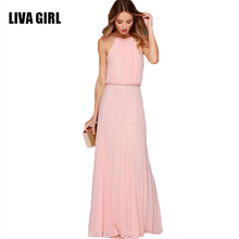 LIVA GIRL Casual Summer Sexy Off Shoulder Maxi Women Evening Party Dress Black White Vintage Long Beach Boho Chiffon Dresses C75