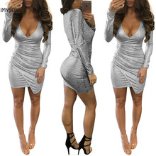 New Arrival Spring Autumn Women Sequine Ruched Beautiful Dresses Silver Sexy Club V Neck Wrinkled Dress Mini Pencil Long Sleeve