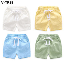 V-TREE Boys Shorts For Summer Baby Kids Solid Beach Shorts Toddlers Cotton Casual Shorts Students Casual Sports Clothes