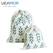 VEAMOR Beam Port Drawstring Cotton Cloth Green Wheat Pattern Gift Candy Bags Storage Bags Soft Small Gift  Bags 3pcs/set B121