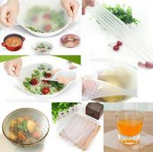 4pcs seal vacuum food magic wrap multifunctional food fresh keeping plastic wrap Silicone Transparent Re-usable Food Wraps