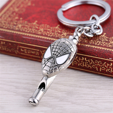 Movie Series Accessories Spiderman Silver Color Metal As Whistle Keychain 5.5x2.6 cm Creative Jewelry Chaveiro Dropshipping(China)