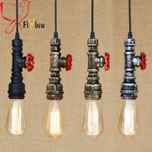Nordic countryside water Pipe pendant lamps 4 colors Loft industrial creative steam punk suspended luminaire for bar restaurant