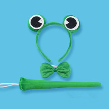 2018 Green Frog Headband Bow Tie Tail Cosplay Costume Props Kids Adults Birthday Party Favor Christmas New Year(China)