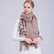 New Luxury Embroidered Flowers Scarf Cashmere Cotton Viscose Scarf Women Shawls Solid Plain Ladies Scarves Tassels(China)